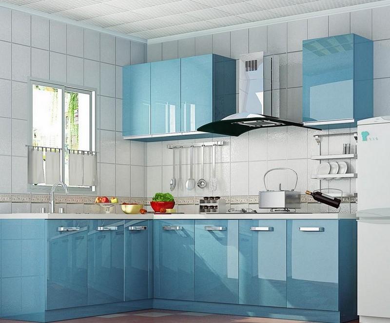 серо голубая кухня фото