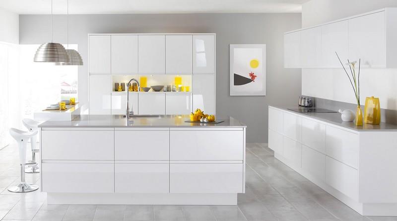 современная белая кухня в стиле модерн фото