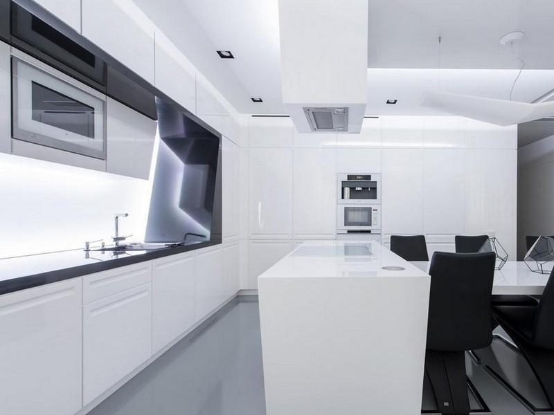 белая кухня хай тек фото
