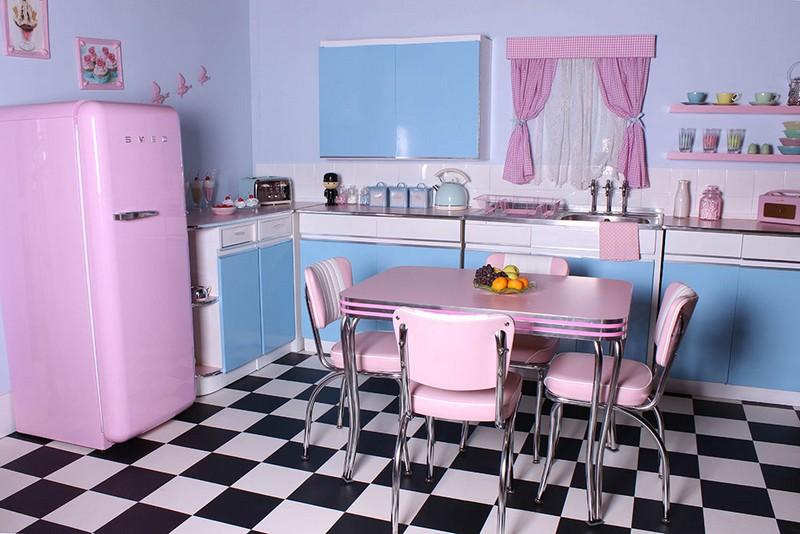 розово голубая кухня фото