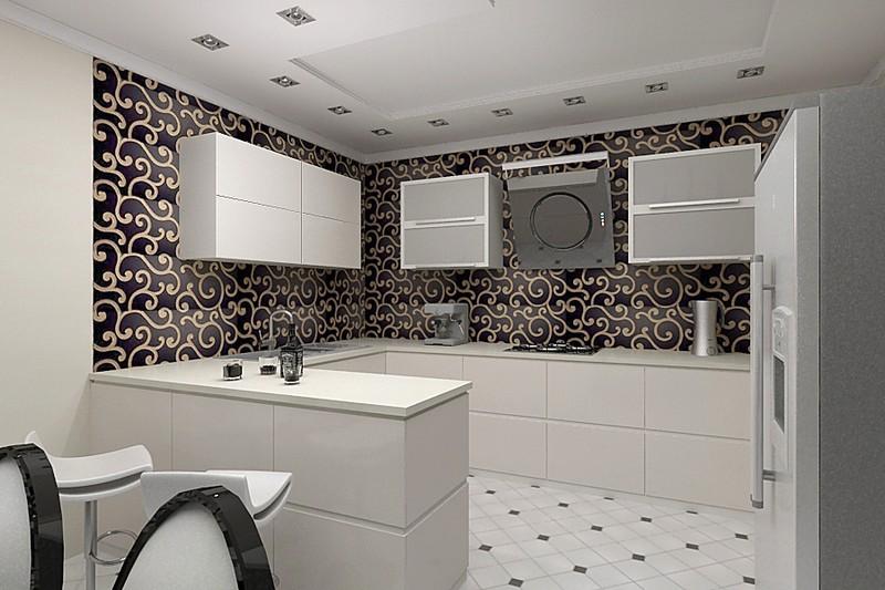 белая кухня в стиле арт деко фото