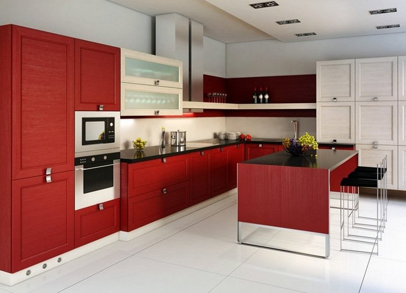 дизайн красной кухни фото