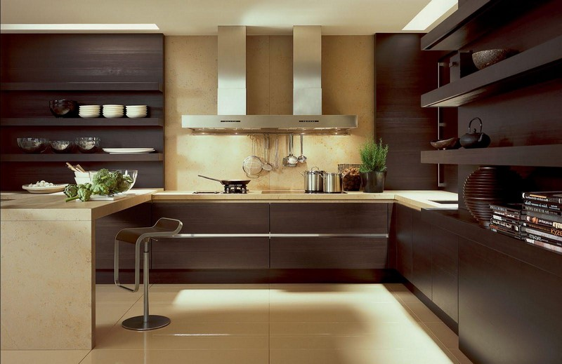 коричневый в интерьере кухни фото