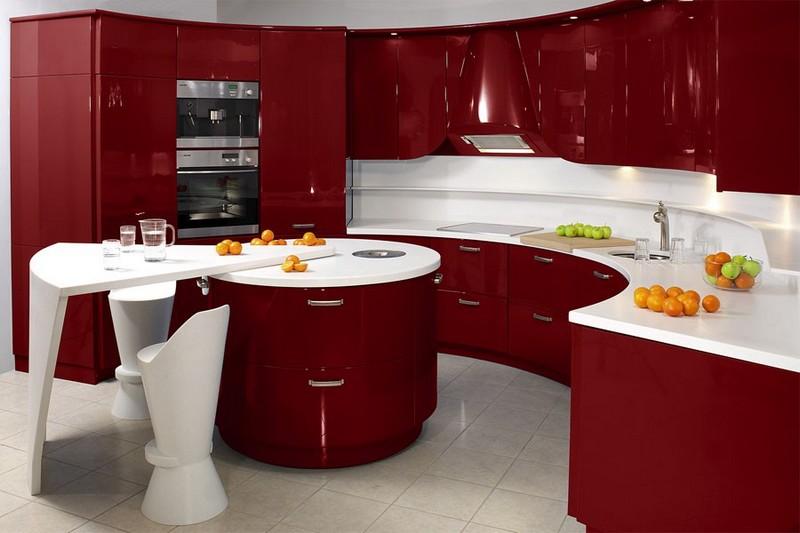 бордово белая кухня фото