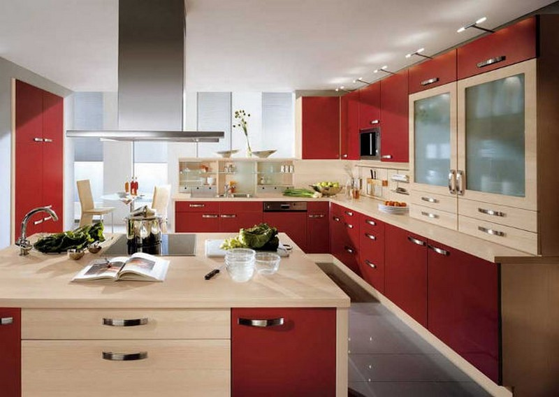 кухня бордовая с бежевым фото