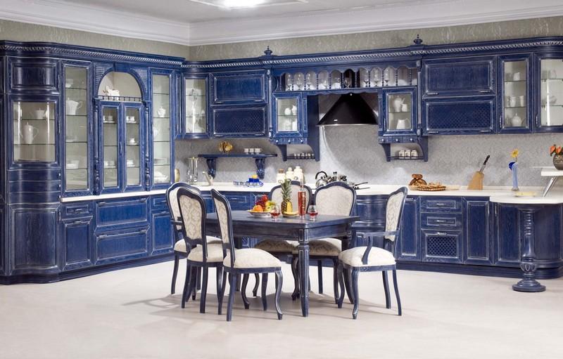 дизайн синей кухни фото