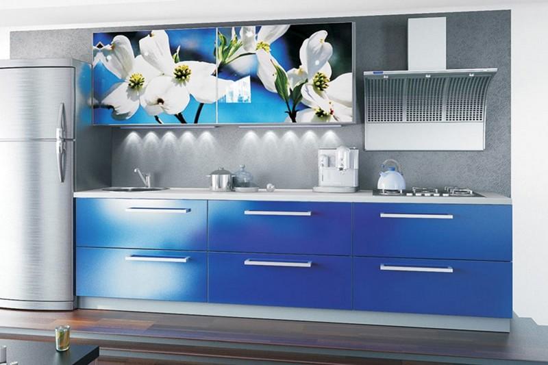 серо синяя кухня фото