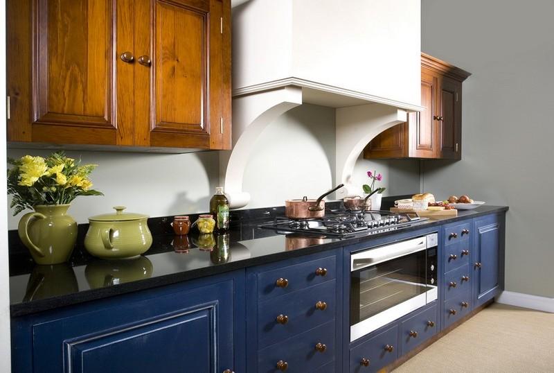 кухня синего цвета фото