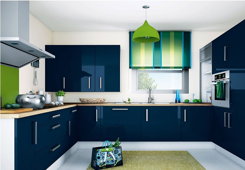сине зеленая кухня фото