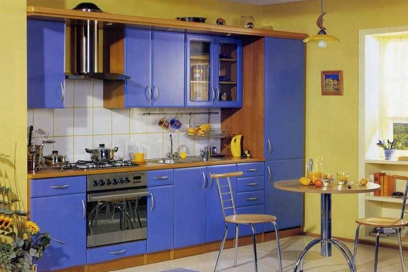 сине желтая кухня фото