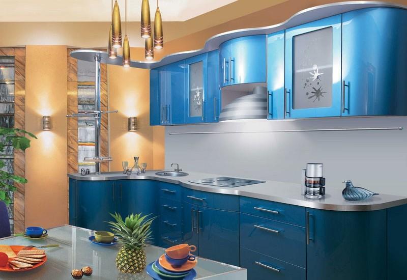 кухня синий металлик фото