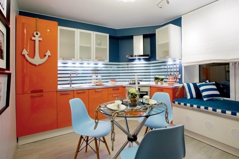 декор интерьера кухни в морском стиле фото