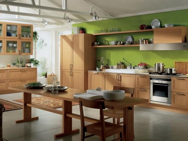 оливковый цвет в интерьере кухни фото