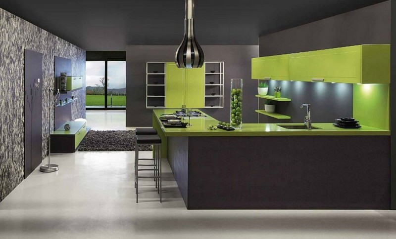 серо оливковая кухня фото