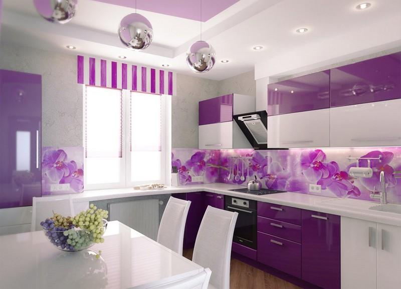 сочетание фиолетового цвета в интерьере кухни фото