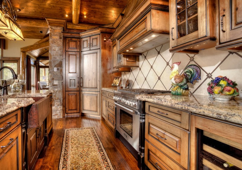 дизайн кухни в стиле шале фото