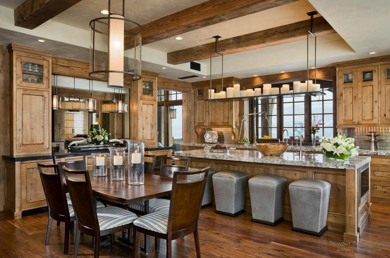 кухня гостиная в стиле шале фото