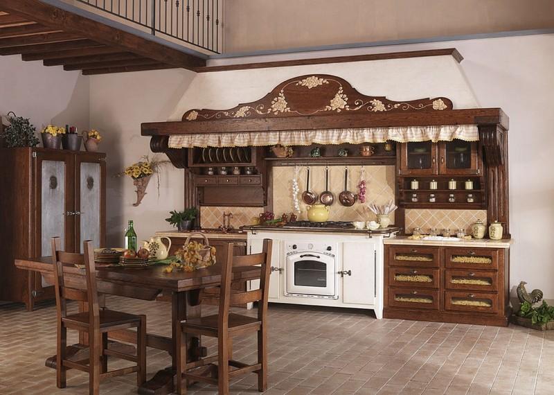 кухни из дерева под старину фото