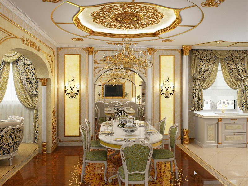 кухня гостиная в стиле барокко фото