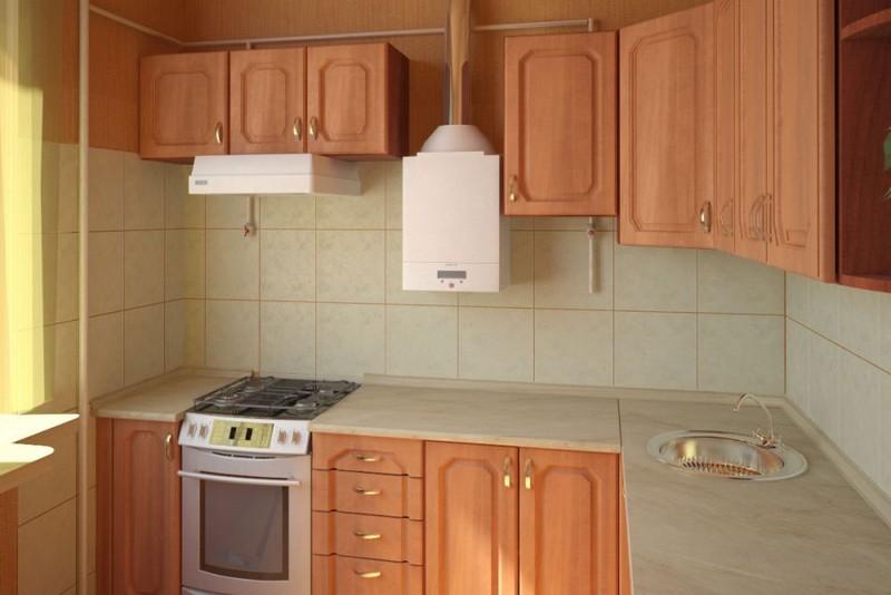 дизайн кухни с газовой колонкой фото
