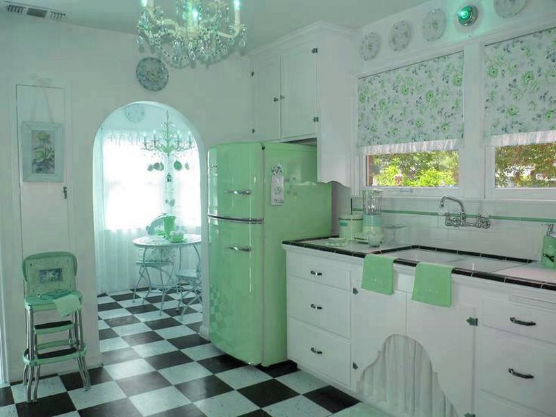 мятная кухня в ретро стиле фото