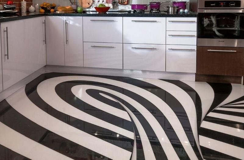 современный пол на кухне фото